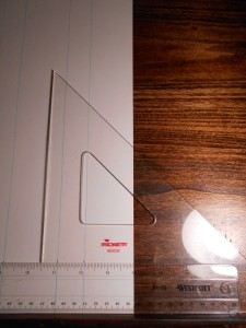 Draw a line with this 45 degree triangle.